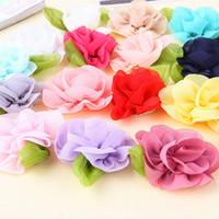 Wholesale Ornaments For Hair - Silk Yarn Chiffon Leaf flower For DIY KIDS headband Hairclips shoes ornament Women's Side Clip DIY Accessories Headwear Hair Accessories