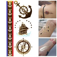 Mode Neue Design Glitzer Flash Tattoo Segelschiff Kompass Muster Metallic Gold Silber Temporäre Tattoo Flash Körper Bling Tats