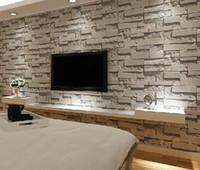 AuBergewohnlich Gestapelte Ziegelstein 3d Steintapete Moderne Wallcovering  PVC Rollentapete Backsteinmauer Hintergrundtapete Grau Für Wohnzimmer