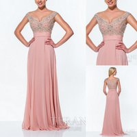 Wholesale Embellished Chiffon Dress Pink - Evening sequins beaded off the shoulder prom dresses party evening formal gowns crystal embellished A058782
