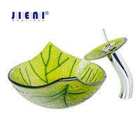 Wholesale tempered glass basin sinks - Bright green Leave Hand Paint Washbasin Tempered Glass Basin Sink Faucet WW-01