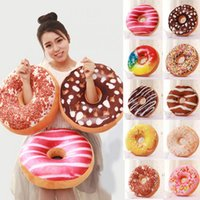 Wholesale Food Cushion - Cute Donuts Pillow Case Chocolate Donuts Plush Macaron Food Nap Cushion Cover Case for Sofa Home decoration Supplies