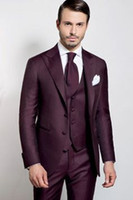 New Arrival Groom Tuxedos Burhundy Groomsmen Peak Lapel Best Man Suit Bridegroom Wedding Prom Dinner Suits (Jacket+Pants+Tie+Vest) K590