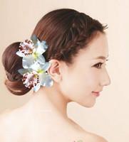 ingrosso le clip di capelli bianchi dell'orchidea matrimoni-Accessori per capelli da sposa Hawaii Accessori per capelli da sposa per capelli rosso bianco orchidea fiore capelli artiglio parte goccia trasporto all'ingrosso al dettaglio