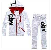 Wholesale Cbv Clothing - Wholesale-2016 new men's fashion clothing set hoody + pants 2 piece tracksuits print CBV male full sleeve sport track suits sportwear