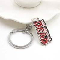 Wholesale Zombies Props - Zombie Terminus Sanctuary Keychain, the Walking Dead Gift Prop key Chains Red Letter Alloy keychain wholesale