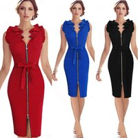 Wholesale Black Fitted Short Sleeve Dress - Womens Summer Bodice Dresses 2016 Summer Ruffle Neck Belted Bow Zipper Front Blue Red Black Short Fitted Dress Pencil Dress OXL831