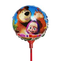 Wholesale Mylar Stick Balloons - Wholesale-8.5 Inch 20pcs set Masha and Bear Stick Balloons Air Aluminum Foil Ballons for birthday party mylar globos