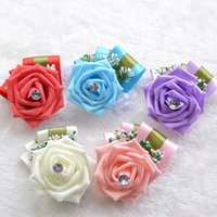 Wholesale Single Artificial Red Rose - 2015 Pretty Bridal Wrist Flower Single Flower Artificial Bridesmaid Flower Rose Silk Crystals Lady Lilac Red Blue Pink Drop Shipping WF039