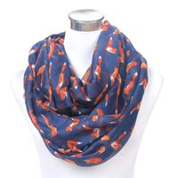 Wholesale- Moda Mulheres Fox Animal Cachecóis impressos Long Soft Cotton Voile Cute Shawl Spring Fall Neckerchief JL