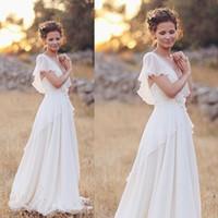 Wholesale Same Deep Wave - Boho Wedding Dresses Chiffon Deep V Neck White Sexy Simple Cheap Short Sleeve A Line Floor Length Wedding Gowns
