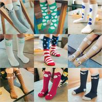 Wholesale girls star leggings - baby cotton fox socks girls knee high bear socks stockings baby star footwear leggings socks baby chevron leg warmers B11