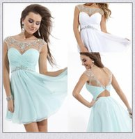 Backless Sexy Prom Dresses Peluche Tulle Illusion Cap sleeve Bateau Neckline Short Aqua / Rosso / Bianco Chiffon 2016 Homecoming Crystals Cocktail
