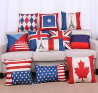 Cheap French Home Decor Wholesale National Flags Cushions American British Canada French Flags Pillow Case