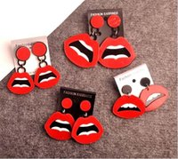 European Fashion Punk Jewelry Club Red Sexy Lips Earrings para mulheres Hip Hop Acessórios Hot Wholesale