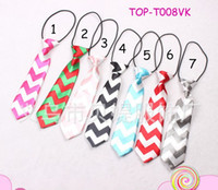 Wholesale Boys Satin Tie - INS baby chevron zig zag neck tie baby kids children ties neck tie ties Boys Girls tie with curve style 30pcs lot 9color choose,0-6T satin