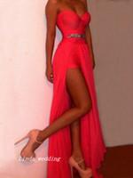 mousseline de soie chérie perles robes rouges achat en gros de-Livraison Gratuite Nouvelle Arrivée Couleur Rouge Sexy Une Ligne-Princesse Chérie Perles Parole Longueur En Mousseline De Soie Longue Robes De Soirée