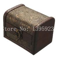 Wholesale Vintage Wood Lock Box - Stylish Vintage Metal Lock Jewelry Treasure Chest Case Manual Wood Box storage box Vintage Flower storage jewelry box APJ