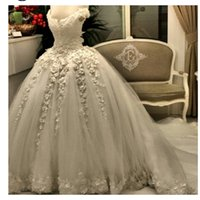 Wholesale white line wedding dress sweetheart crystal online - Real Image New Arrival Pearls Lace Wedding Dress Empire Beaded Ball Gowns Bridal Gown With Flowers Lace Applique Luxury Bridal Gown