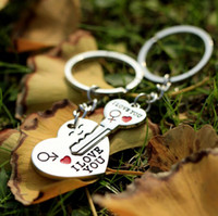 Wholesale love couple keyrings resale online - New Couple I LOVE YOU Heart Keychain Ring Keyring Key Chain Lover Romantic Creative Birthday Gift