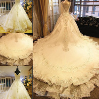 Wholesale Wedding Trails - 2015 Luxurious Shining Wedding Dresses Sheer Cap Straps White Organza A Line Royal Trail Beaded Crystals Lace Applique Diamond Bridal Gowns