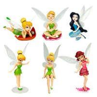 Wholesale Tinkerbell Fairies Dolls Wholesale - Tinker Bell figure Tinkerbell Fairy Adorable Action Figures Retail Dolls Gift For Children 6pcs set Free Shipping