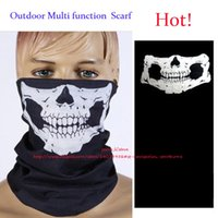 Wholesale Wholesale Scarves Sport - Outdoor Sports Cycling Bike Bicycle Riding Fashion Skull and Crossbones Veil Multi Head Scarf Face Bandana Skull Scarves Wicking Seamless