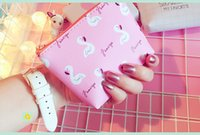 Wholesale Korean Beautiful Dresses - High quality Printed Animal Flamingo Coin Purses Hello Leaf Pink White Small Money Bag Double Layer Beautiful Sweet Cute Wallets