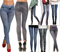 Wholesale Black Denim Leggings - New Hot Selling Girls Women Thin Ladies Fashion wild snow Denim Leggings Pants Trousers 7 Types