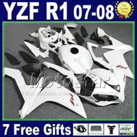 ingrosso corone di yzf-Kit carenatura bianco opaco per kit YAMAHA R1 2007 2008 Kit di iniezione plastica 07 08 yzf Kit carene R1 per moto 2TH6