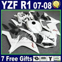 Wholesale Fairings For Yamaha - Matte flat white Fairing kit for YAMAHA R1 2007 2008 Injection plastic set 07 08 yzf R1 fairings kits motorcycle 2TH6