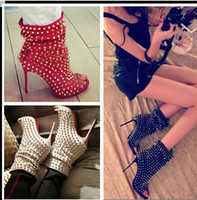 Wholesale Blue Ankle Booties - 2017 Punk Booties Gladiator High Heels Sandals Boots Women Pumps Shoes Woman Peep Toe Rivets Women Boots Women Moptorcycle Boots For Female