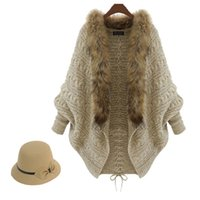 Wholesale New Fashion Fur Trim Sweater for Women Clothes Winter Loose Sweater Cardigan Europe High end Lady Bat Sleeve Knit Coat Cape Poncho