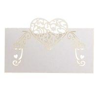 Wholesale Invitation Paper Box - 50pcs Laser Cutting Wedding Invitation Paper Table Cards, Elegent Place Name Card Heart Shape Unique Wedding Party Decoration