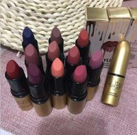 Nuovo 2017 12 colori Lip Gloss Bellissimi cosmetici Kylie Gold Pack impermeabile Long Lasting Rossetto Matte Kylie Rossetto Gold Bullet Lip Stick