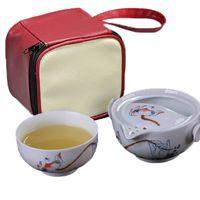 Wholesale traditional chinese porcelain - Chinese Traditional teapot kettle Porcelain Cup Quik Cup Upscale Elegant Tureen Kung Fu Tea Set 1 Pot 1 Cup