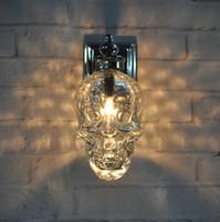 Wholesale Skull Knobs - Creative Skull Heads Wall Lamp Individuality Iron Art Wall Lamp EuropeanStyle Bedside Bedroom Living Room Loft Iron Wall Light
