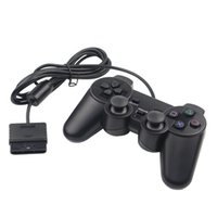 Hot Sales Wired Double Vibration Shock Controller Gamepad compatível com Playstation 2 PS2 Console Video Games Black Free DHL