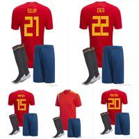 Wholesale Kids Socks Free Shipping - Free shipping 2018 would cup Spain kids Jersey ISCO PIQUE SERGIO RAMOS A. INIESTA M. ASENSIO THIAGO MORATA boy football shirts +shorts+socks