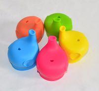 bebeğin şişesi toptan satış-Bebek Içme Dönüştürür Için silikon Sippy Kapakları Fil Şekilli Şişe Kapağı Besleme çocuk Saman Taşınabilir Kapaklar