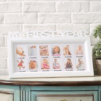Wholesale Baby Wooden Picture Frame - Baby memorial photo frame letter piece conjoined children 12 months wall picture frame Wall DIY Sweet Children Wooden Photo Frame