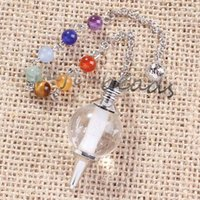 Wholesale Crystal Gemstone Ball - Wholesale 10pcs charming White crystal gemstone Silvery Metal Ball Chain Dowsing Healing Chakra Pendulum Gift
