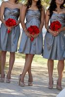 Wholesale Taffeta Orange Bridesmaid Dress - Grey Short Knee Length Bridesmaid Dresses Sweetheart Neckline Empire Sleeveless A Line Wedding Party Gowns Vestios De Festa