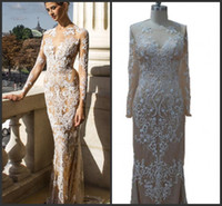 Wholesale Sexy Prom Underwear - Real Image Zuhair Murad Embroidery Lace Bead Sheer Long Formal Evening Dresses Nude Underwear Long Sleeve Sexy Party Prom Dress Gowns Cheap