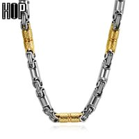 Wholesale heavy pendants for men resale online - HIP Hop Two Tone Gold Color Titanium Stainless Steel CM MM Heavy Link Byzantine Chains Necklaces for Men Jewelry