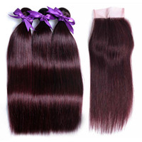 Wholesale 99j straight closure for sale - Group buy Straight Peruvian Hair With Closure j Burgundy Virgin Hair Extensions Or Bundles With Lace Closure Remy Human Hair
