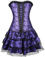 Wholesale Steel Bone Corset Dress - Women's Steel Boned sexy corsets and bustiers costume Overbust Tops Waist Cincher Grand Steampunk Leather Clasp Corset Dress