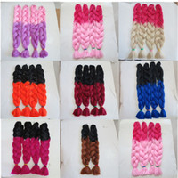 Wholesale braiding hair two colors online - Kanekalon Jumbo Braid Hair inch g Ombre two tone color xpression Synthetic braiding hair extensions colors Optional