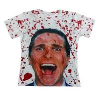 ingrosso caldo uomini v tshirt-Vendita calda 2015 moda uomo tshirt 3d stampa American Psycho T-shirt Unisex Tees Novel Digital stampato manica corta magliette e camicette
