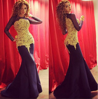 Wholesale Trumpet Tones - Two Tone Lace Satin Sheer Long Sleeves Myriam Fares Dresses Celebrity Evening Gown vestido sereia 2015 Red Carpet Dresses